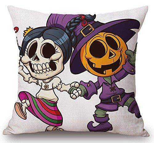 Poppylife Canvas Linen Cartoon Halloween Pumpkin Design Decorative Square Throw Pillow Case Cushion Cover 24