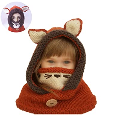 Ouken Netter Fox Hut Schaltücher Maske Earflap Set Wolle Gestrickte