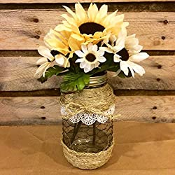 Rustic Mason Jar Floral Arrangement, Twine and Chicken Wire Mason Jar Vase, Farmhouse Decor, Country Flower Centerpiece, housewarming gift, Valentine's Day Present