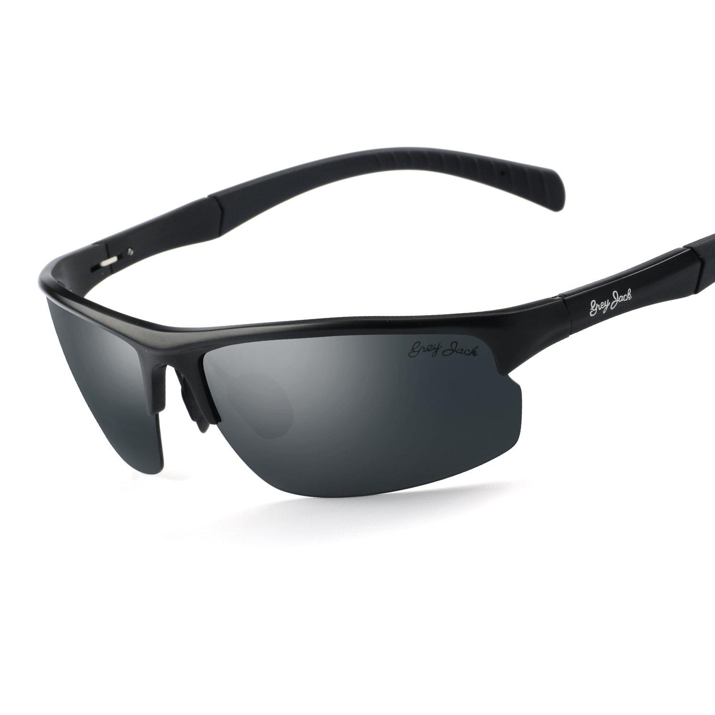 8a0f5e4636c Amazon.com   GREY JACK Mens Polarized Sports Sunglasses Al-Mg Alloy  Lightweight Half Frame for Men Women Black Frame Black Lens   Sports    Outdoors