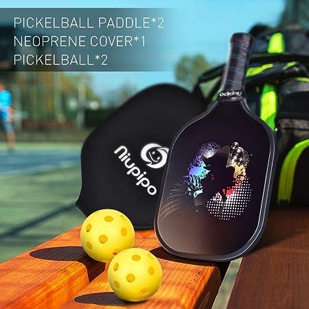 Pickleball Paddle - Graphite Pickleball Rackets Set of 2 Pickleball Racquets & 4 Balls, 1 Bag, Polypropylene Honeycomb Core, Graphite Face Cushion ...