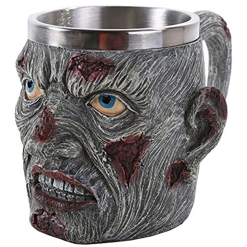 Resin Decaying And Bloody Zombie Head Coffee Mug With Stainless-Steel Liner (Scary Halloween Coffee Mugs)