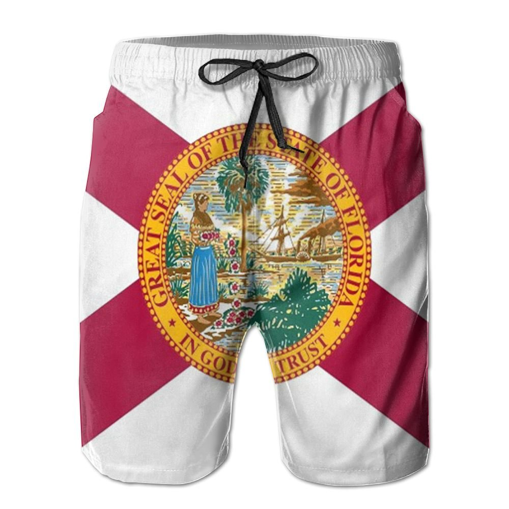 JINYOUR Florida Flag Mens Quick Dry Swim Trunks Beach Shorts Boardshorts