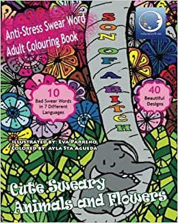 ANTI STRESS Swear Word Adult Colouring Book Cute Sweary Animals And