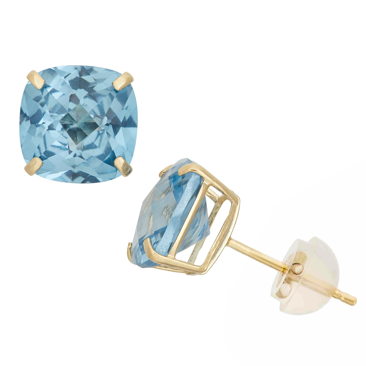 Created Aquamarine Cushion-Cut Stud Earrings in 10K Yellow Gold, 8x8mm, Comfort Fit