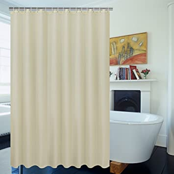 Solid Beige Shower Curtain 54 Inch Wide By 78 Long Plain Fabric