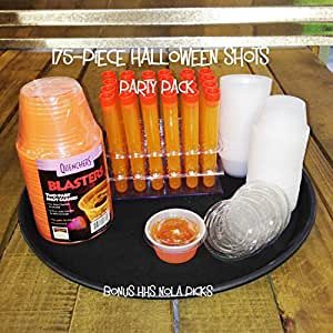 Shooter Party Pack Halloween 175-Pieces - Includes Test Tube Shots, Jello Shot Cups, Party Bomb Shot Cups and Cocktail Tray w/Bonus NOLA Picks
