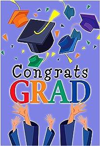 "Morigins Congrats Grad Garden Flag Graduation Cap Celebrate Party Flag 12.5"" x 18"""