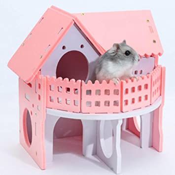 Terrific Welltobuy Pet Pink Castle House Mouse Rat Hamster Cage Nest Two Layer Wooden House For Small Pet Sleeping Exercising Playing Toy 17 X 15 X 15 5Cm Interior Design Ideas Oteneahmetsinanyavuzinfo