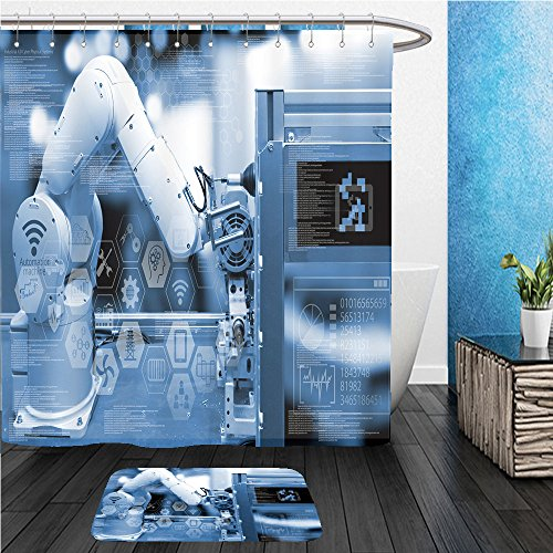 Beshowereb Bath Suit: ShowerCurtian & Doormat industry concept industry graphic sign and blue tone of automate wireless robot arm in smart - Versace Blush