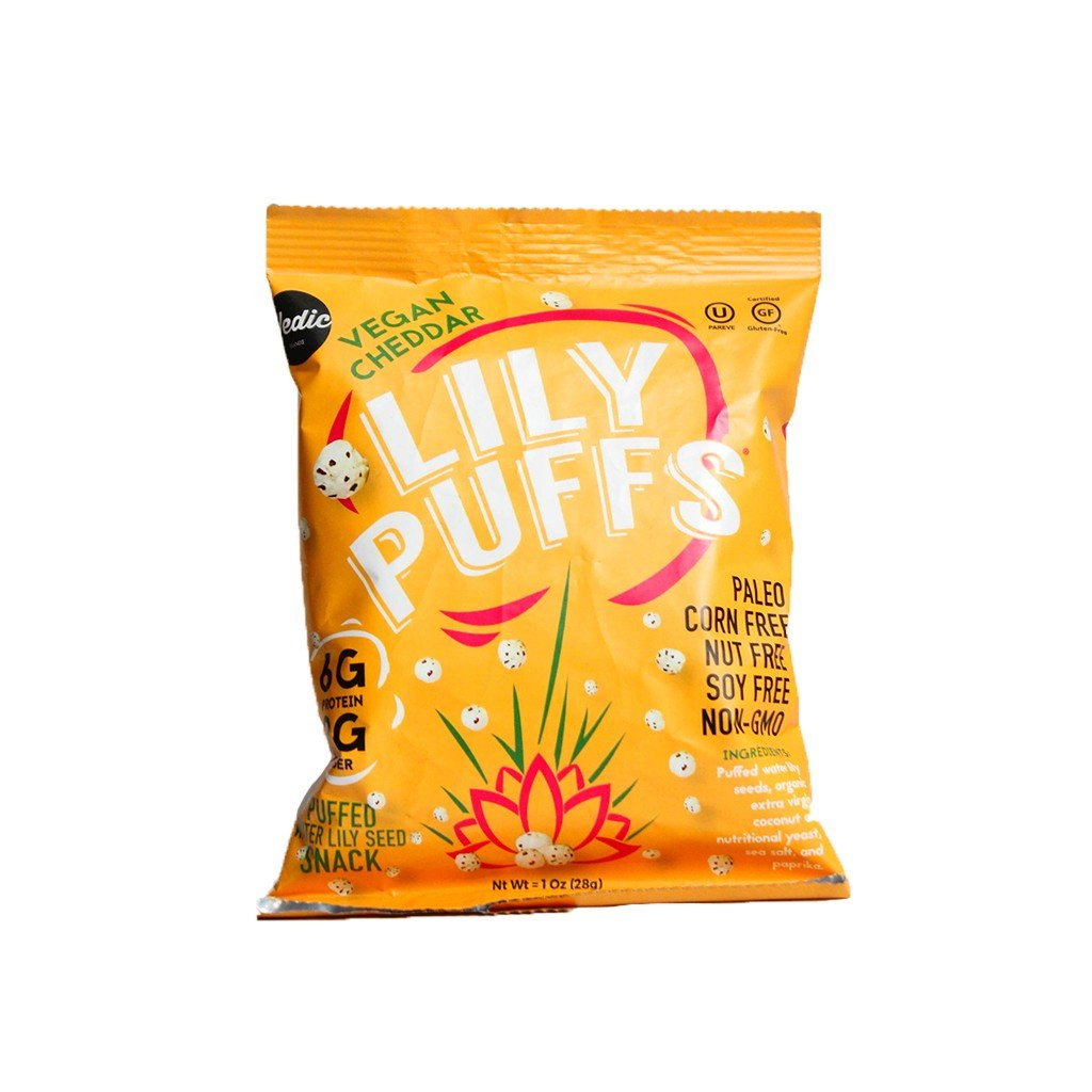 Lily Puffs Vegan Cheddar Puffed Water Lily Seed Snacks, Paleo, Corn Free, Nut Free, Soy Free, Non-GMO, 1oz Bags, Pack of 24 by Lily Puffs