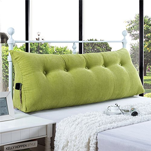 VERCART Sofa Bed Large Filled Triangular Wedge Cushion Bed Backrest Positioning Support Pillow Reading Pillow Office Lumbar Pad with Removable Cover Green 59x7.9x19inch
