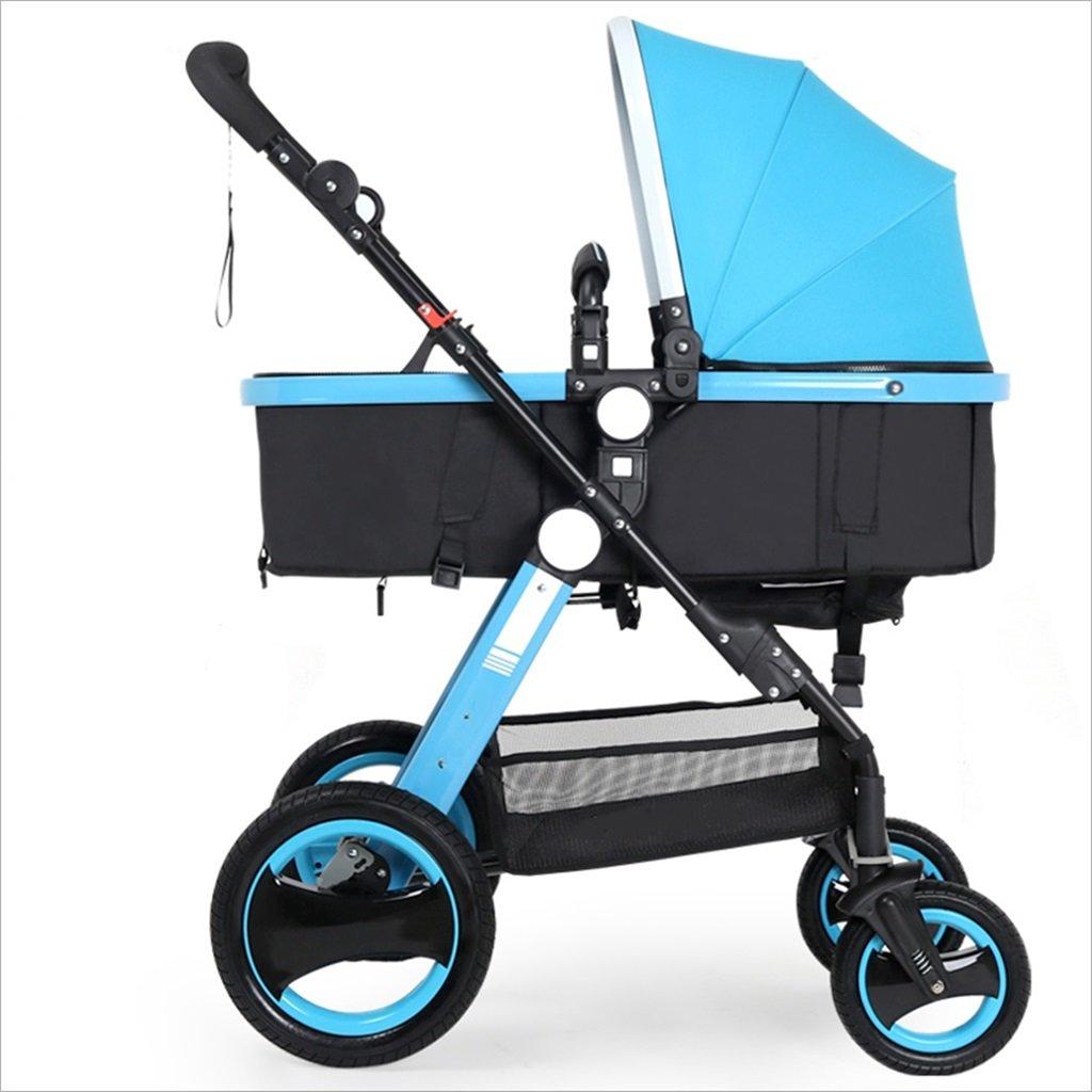 新生児の赤ちゃんキャリッジ折りたたみ可能な座って、1ヶ月のためのダンピングの赤ちゃんカートに落ちることができます 3歳の赤ちゃんの双方向四輪ベビートロリーを振るのを避ける (色 : 青) B07DVBDXYC 青 青