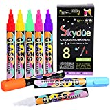 Skydue Chalk Markers with Reversible Bullet and Chisel Tip Non-Toxic and Water-Based Wet Erase Liquid Chalk Pens, Neon Colors, 8 Pack