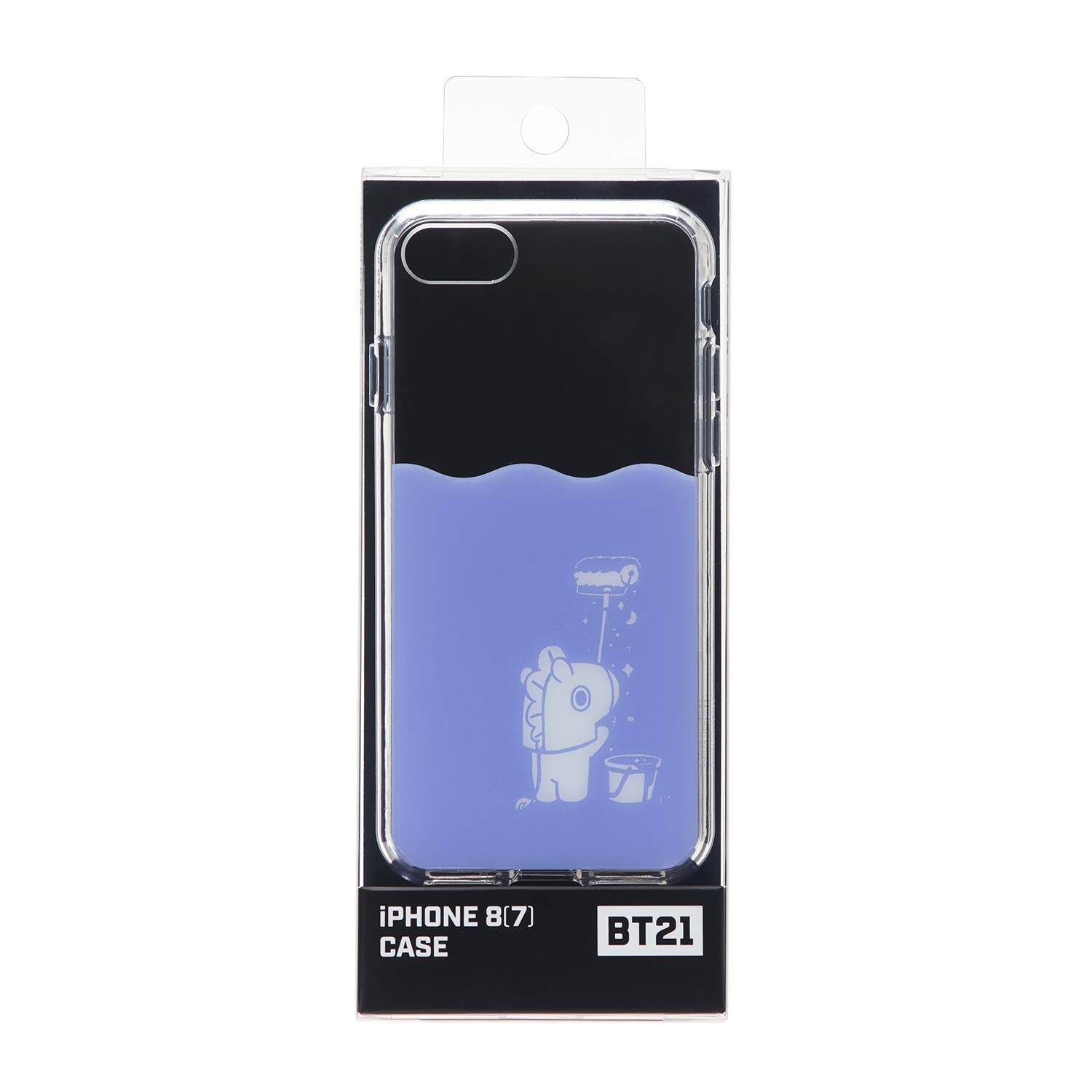 BT21 Official Merchandise by Line Friends - MANG Character Poster Design Drop Protection Case for iPhone 8 / iPhone 7, Blue
