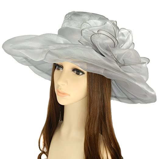 Summer Women s Sun Hats Organza Hat Wide Brim Church Tea Party Wedding Hat ec366eefebf