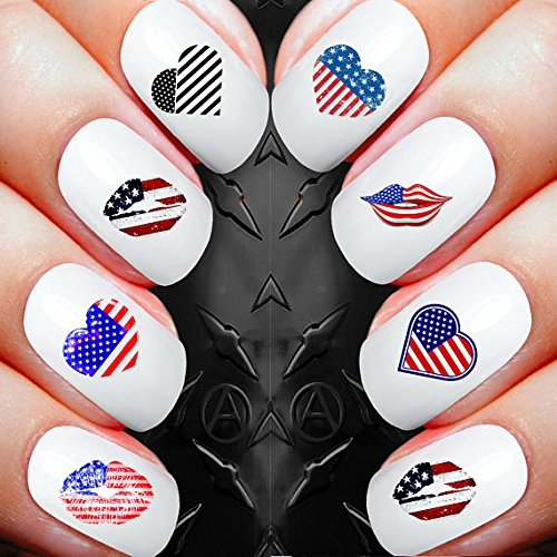 Nail Decals x 30 nail art set waterslide nail decals - American hearts and kisses 4th july celebrations Assortment! - Salon Quality Nail Decals -