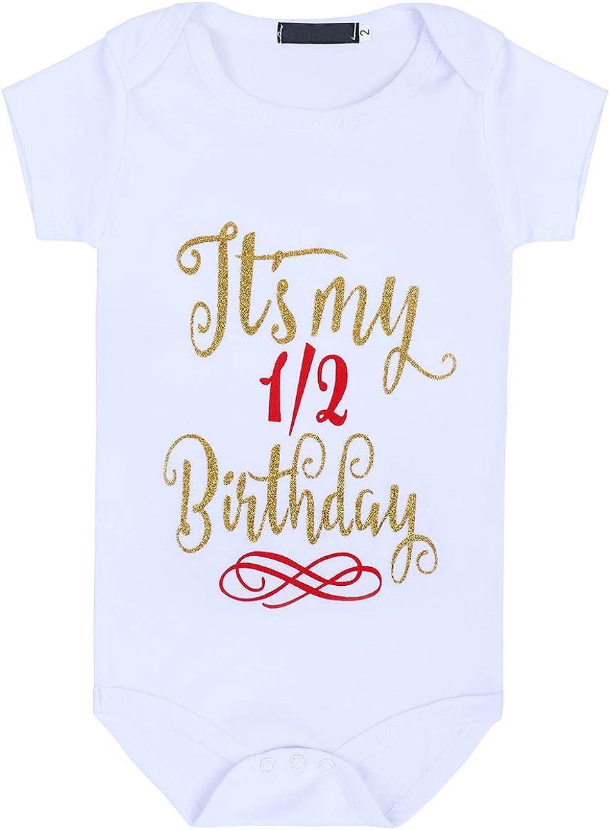 Headband 3pcs Photo Props Clothes FYMNSI Baby It/'s my 1st 2nd 1//2 Birthday Party Princess Tutu Outfit Girl Half First Second Birthday Cake Smash Dress Shiny Glitter Print Short Sleeve Romper Skirt