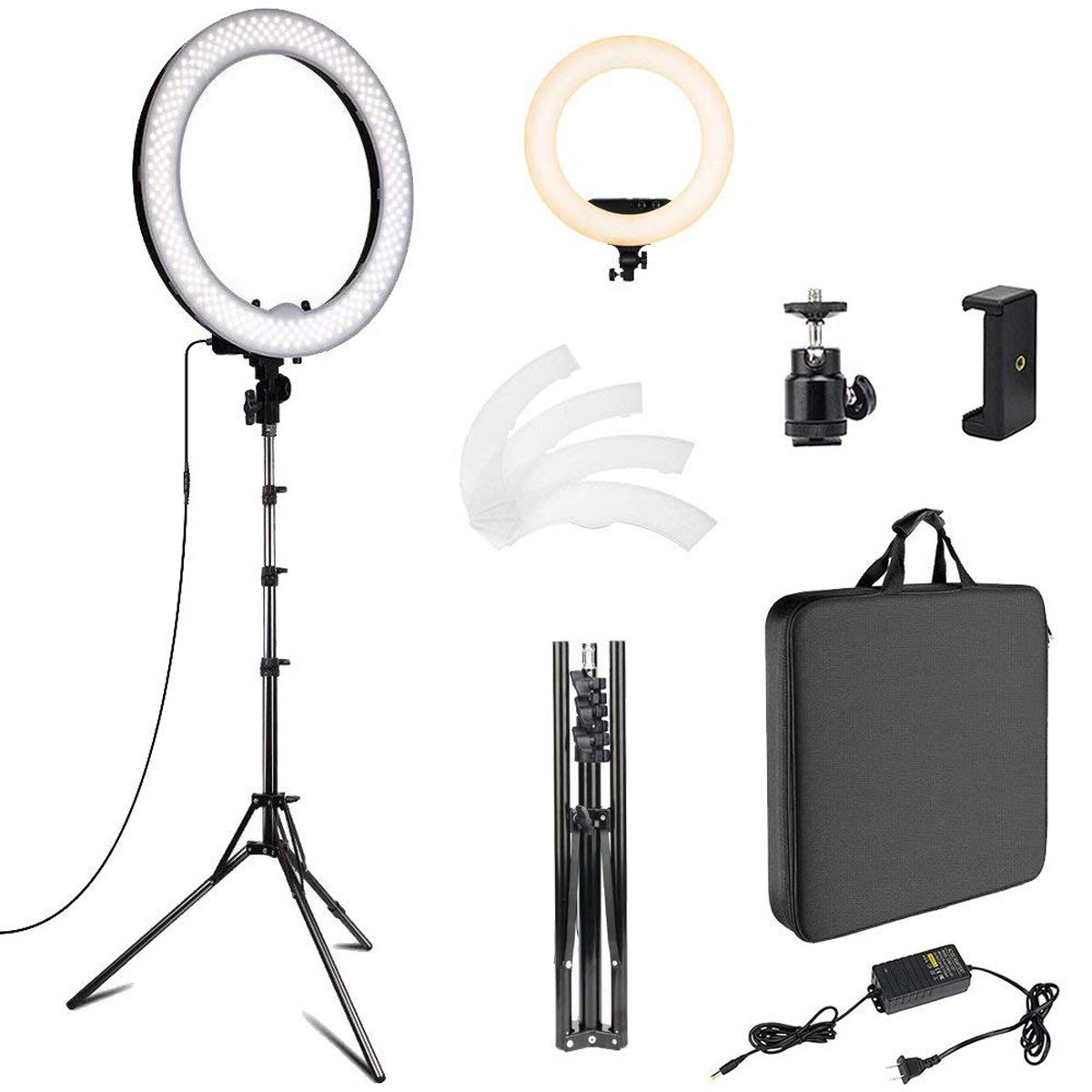 18 inch Photo Video Bi-Color LED Selfie Ring Beauty Light with Stand, LED Dimmable & Color Temperature Adjustable Makeup Circle Lighting Kit by Fstop Labs