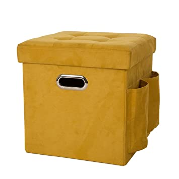 Glitzhome Foldable Faux Suede Cube Storage Ottoman With Padded Seat, Yellow