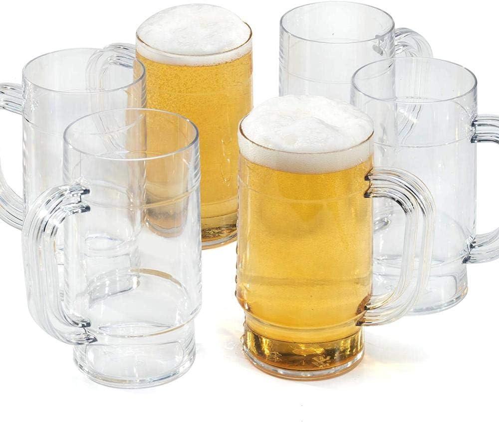 Jarras de cerveza Tazas Policarbonato reutilizable Plástico similar al vidrio Irrompible 1 pinta 660ml - Ideal para fiestas