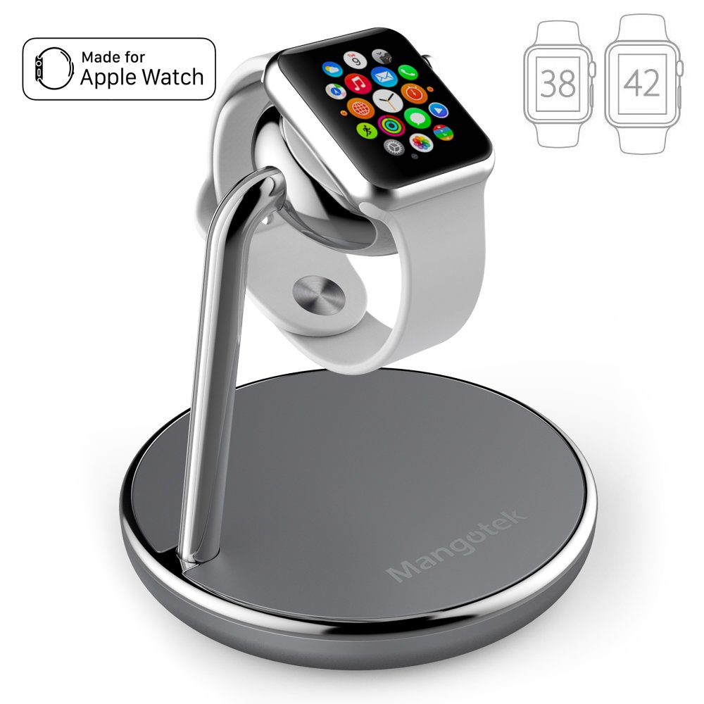 Mangotek Apple Watch Charging Stand, with Magnetic Charger Module and USB Port for iWatch Series 4/3/2/1 (38mm/40mm/42mm/44mm) and iPhone, Nightstand Mode Apple MFi Certified (Apple Watch Charger)