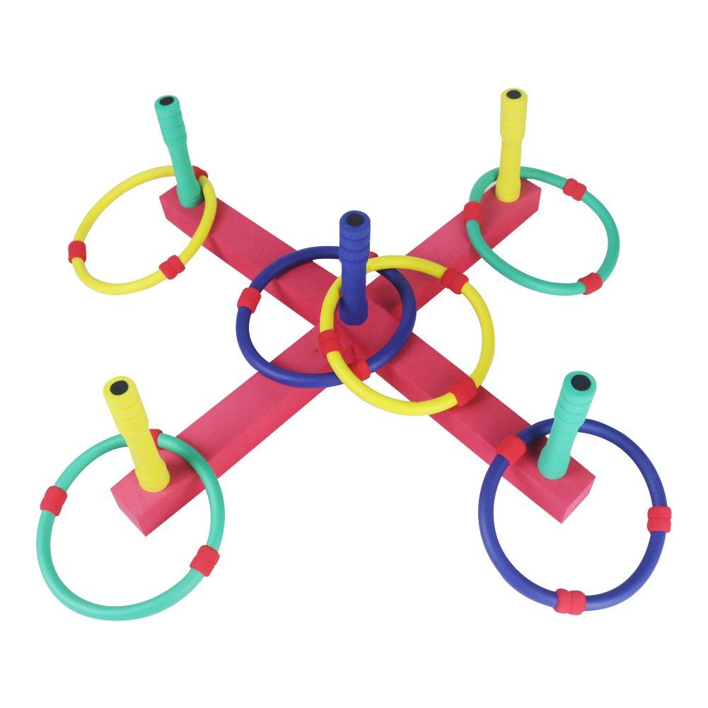 Ringwurfspiel Ringe Werfen Spielzeug für Draußen Werfen den Ring für Kinder und Erwachsene Ringwurfspiel Aktiver Outdoor und Indoor Spielspaß mit 6 Ringen JiaJia Toys Factory