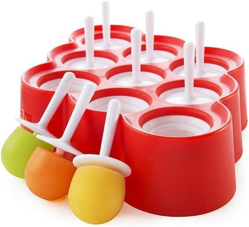 9pcs mini Moldes de helado de silicona Moldes de Popsicle Hielo Pop/Lolly/Juego de herramientas crema para los regalos del cumpleaños del partido Juguetes (rojo)