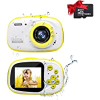 Ishare Camera, Kids Camera 8M 2.0 Inch HD Screen Waterproof Camera with Photo Frame,MP3/MP4 and Games Rechargeable Digital Camera for Girls/Boys(Yellow with 16G Micro Card)