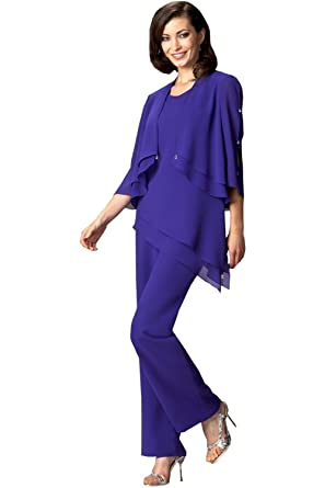 4e4399423618f Image Unavailable. Image not available for. Color  Newdeve Chiffon 3 Pieces  Purple Blue Mother Of The Bride Pant Suits ...