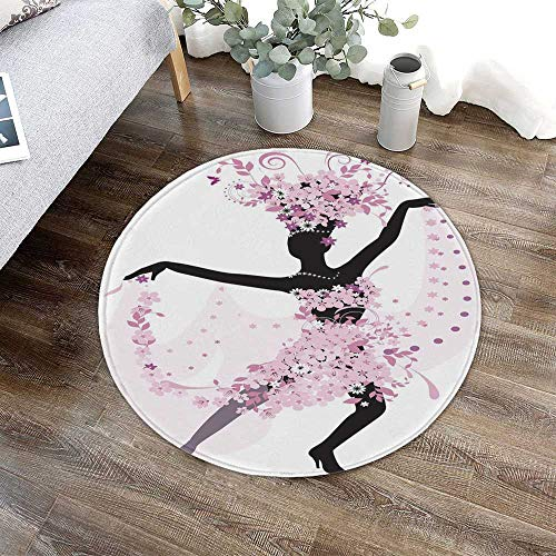 (Latin Short Fur Round Mat,Silhouette of a Woman Dancing Samba Salsa Latin Dances Spain and Mexico Culture Print Decorative for Home Meeting Room,23.62