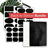 96 Reusable Chalkboard Labels Stickers + 70 Small Magnets with Adhesive Backing | Made with 3M Magnetic Tape | Free Chalk Marker Included | Support Teachers with a Classroom Supplies Bundle