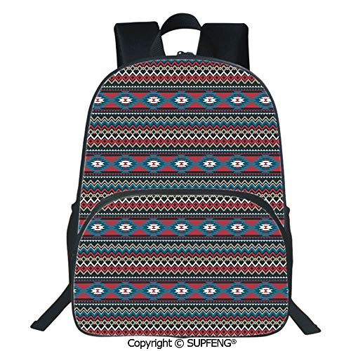 (SCOXIXI Laptop Backpack Primitive Style Aztec Folkloric Striped Design Antique Maya Patterns (15.75