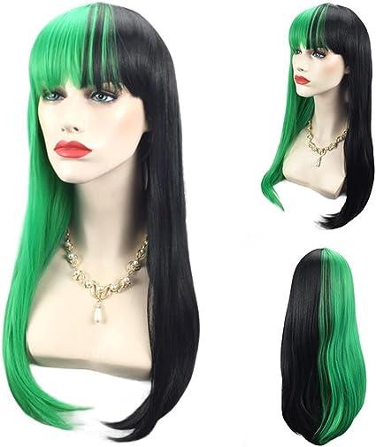 Mujeres largo rizado medio pelo verde y negro con flequillo ...