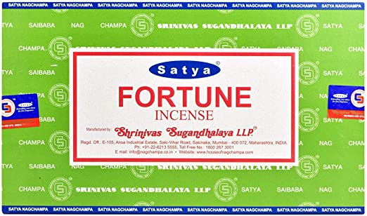 Varitas de incienso de Satya Nag Champa Fortune, Caja de 12 ...