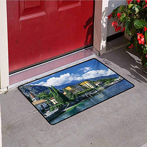 (Jinguizi Italy Welcome Door mat The Panoramic Landscape of Lake Como Mountains and Clouds Digital Image Print Door mat is odorless and Durable W19.7 x L31.5 Inch Blue and Green )