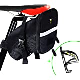 自転車 サドルバッグ 小型 大容量 容量拡張可 防水 フレーム ロードバイク バッグ ブラック ボルトケージ付き