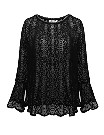 9e638c1ef2f Aphratti Women's Cute Long Bell Sleeve Casual Lace Tunic Top