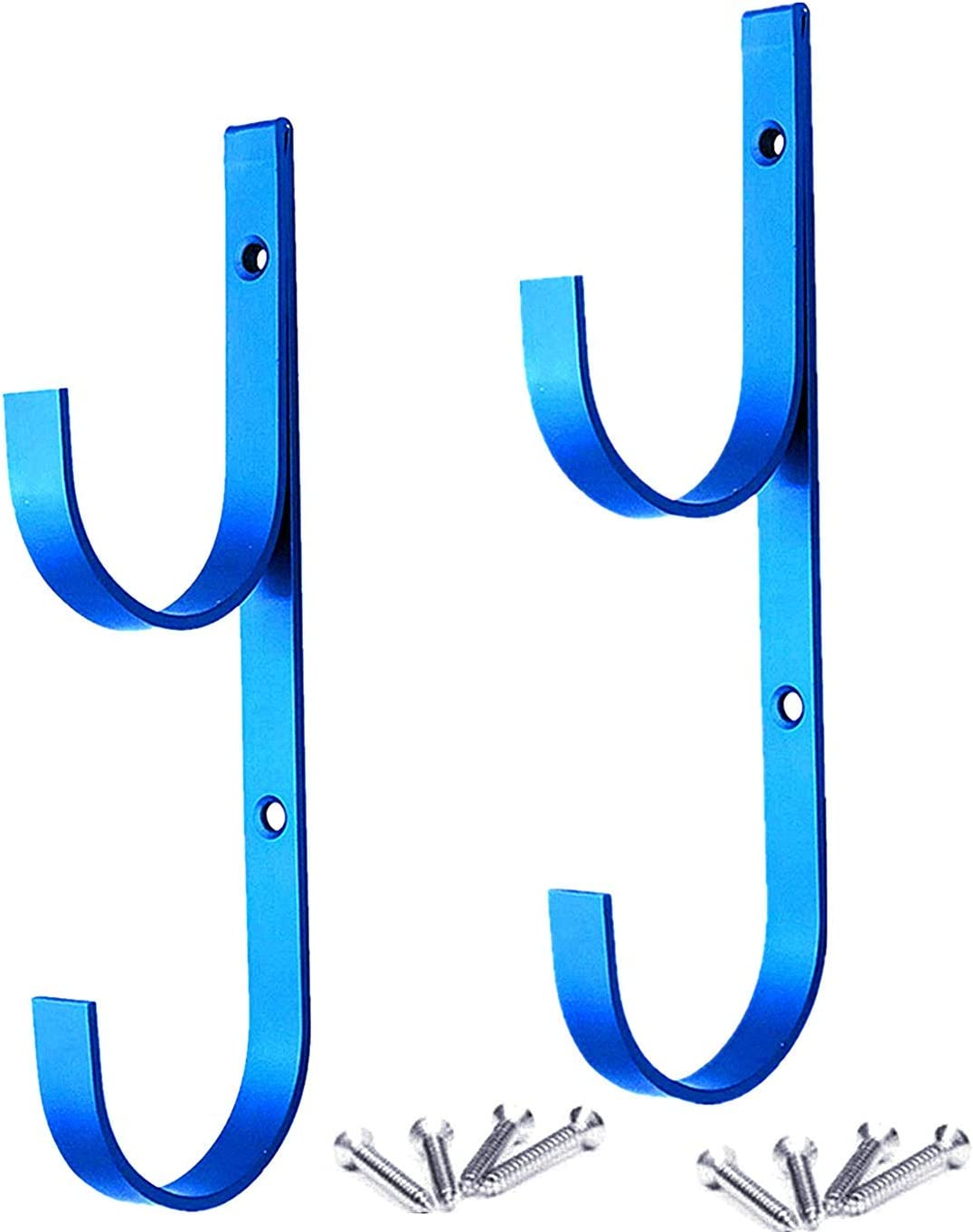 2 Pcs Set Pool Pole Hangers Heavy Duty Blue Aluminium Holder with Screws Perfect Hooks for Swimming Pool Telescopic Poles Skimmers Nets Brushes Vacuum Hose Garden Equipment Outdoor Supplies