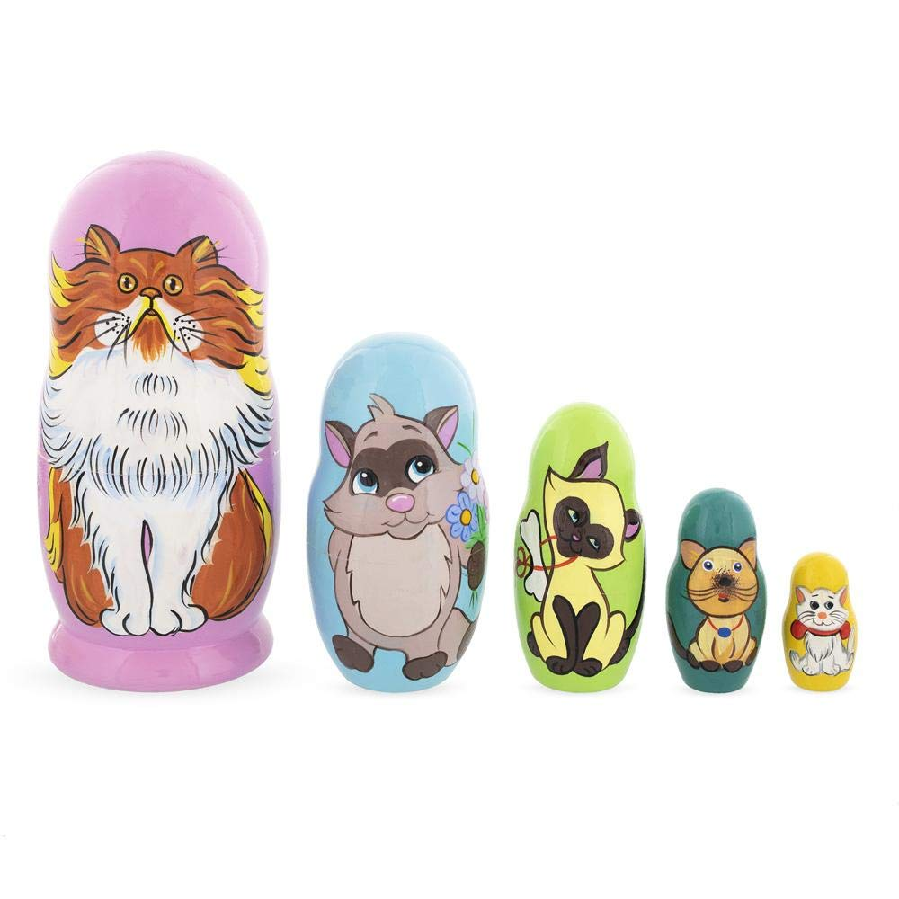 BestPysanky Set of 5 Colorful Cats Wooden Nesting Dolls