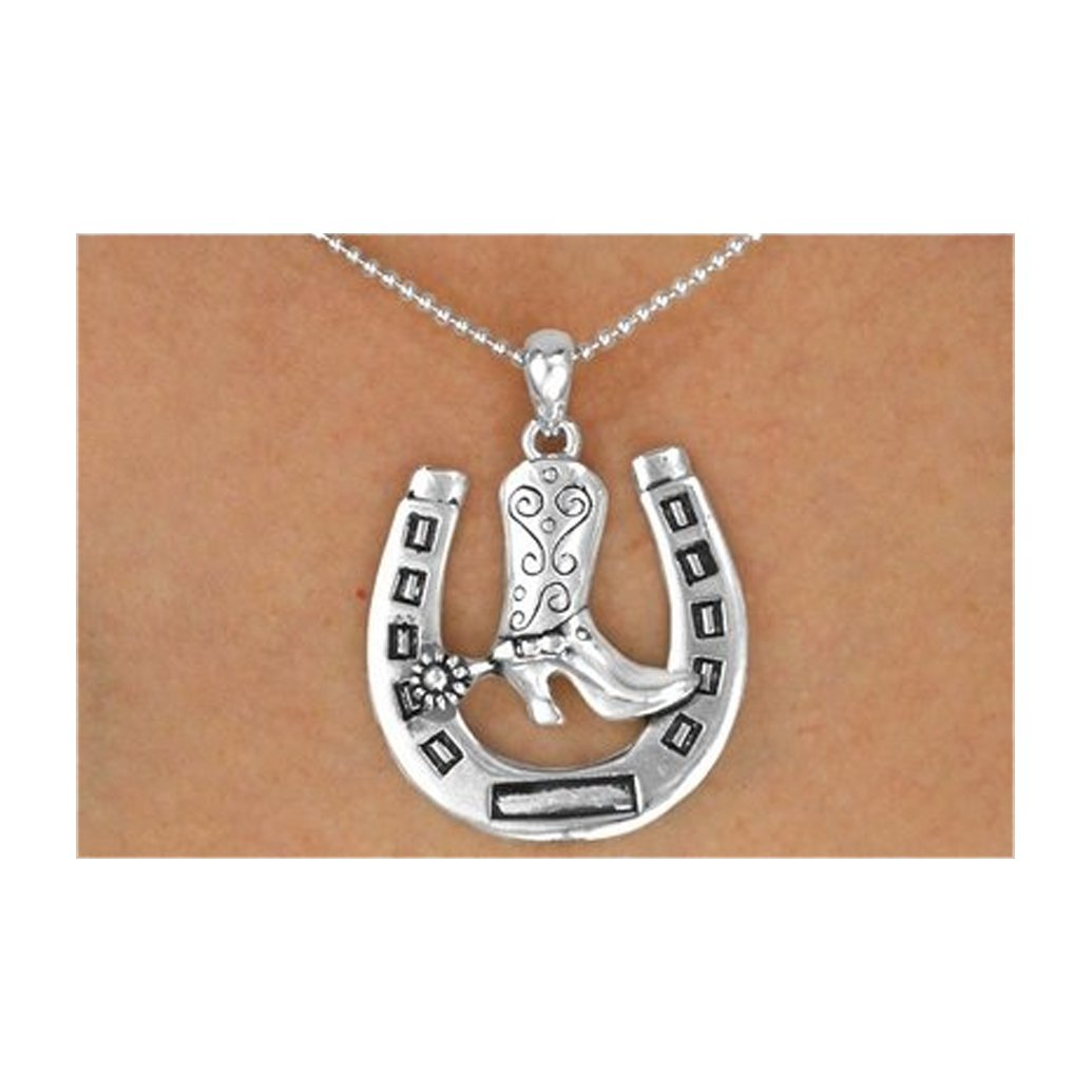 Silver Tone Horseshoe & Cowboy Boot Ball Chain Necklace & Earrings