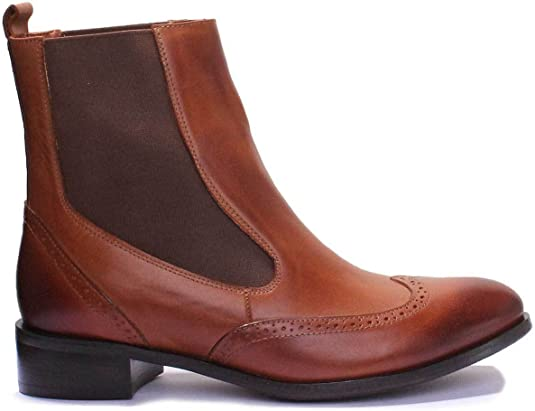 Justin Reece Giana Brown Women Leather Matt Ankle Boots 8 UK, Brown