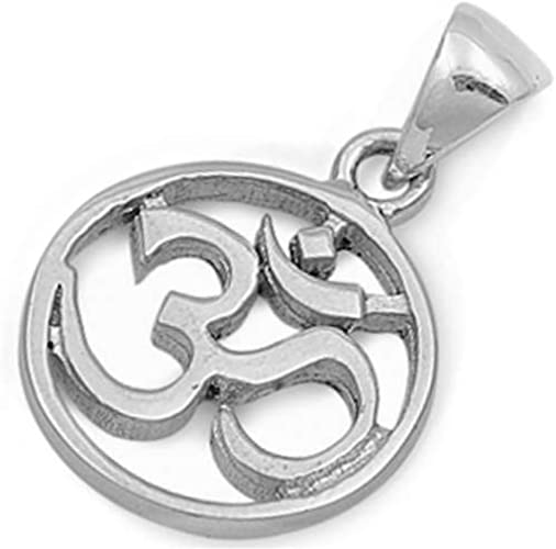 Plain Om Symbol .925 Sterling Silver Charm Pendant