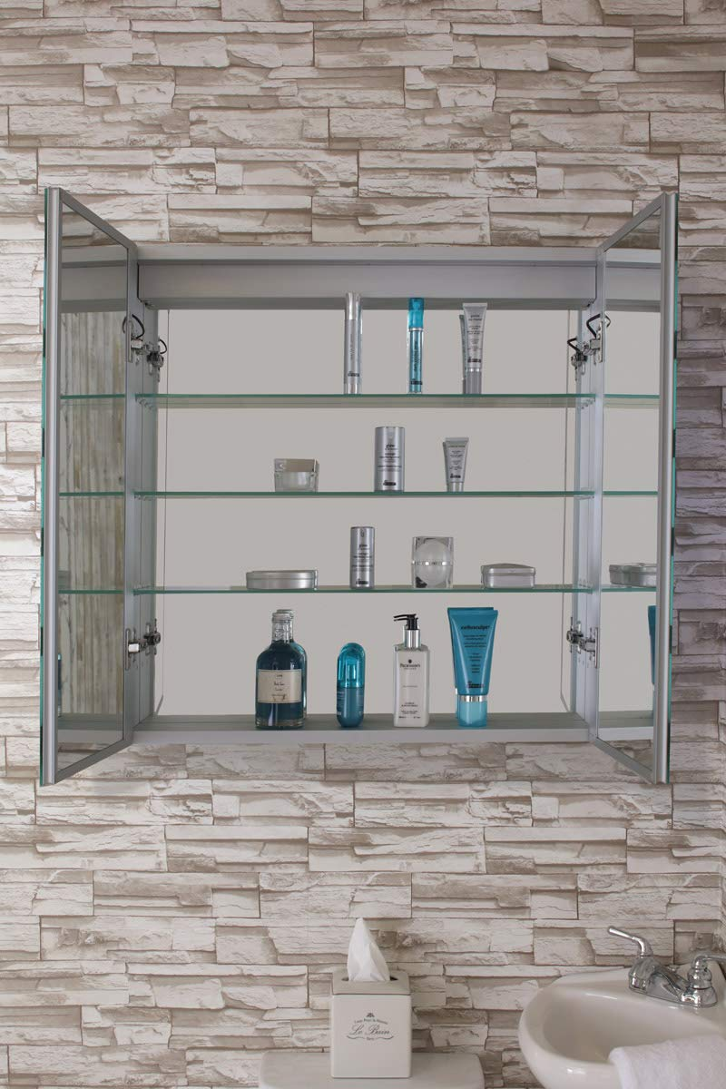 "Fine Fixtures Bathroom Medicine Cabinet, Aluminum, Recessed/Surface Mount, 30"" x 30"", 2 Door, Mirrored w/LED"