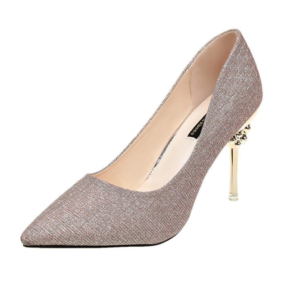 yjydadaレディース靴、ファッション女性ソリッドカラーPailletteポインテッド靴ハイヒール靴 B07D47RCY1  ゴールド 35