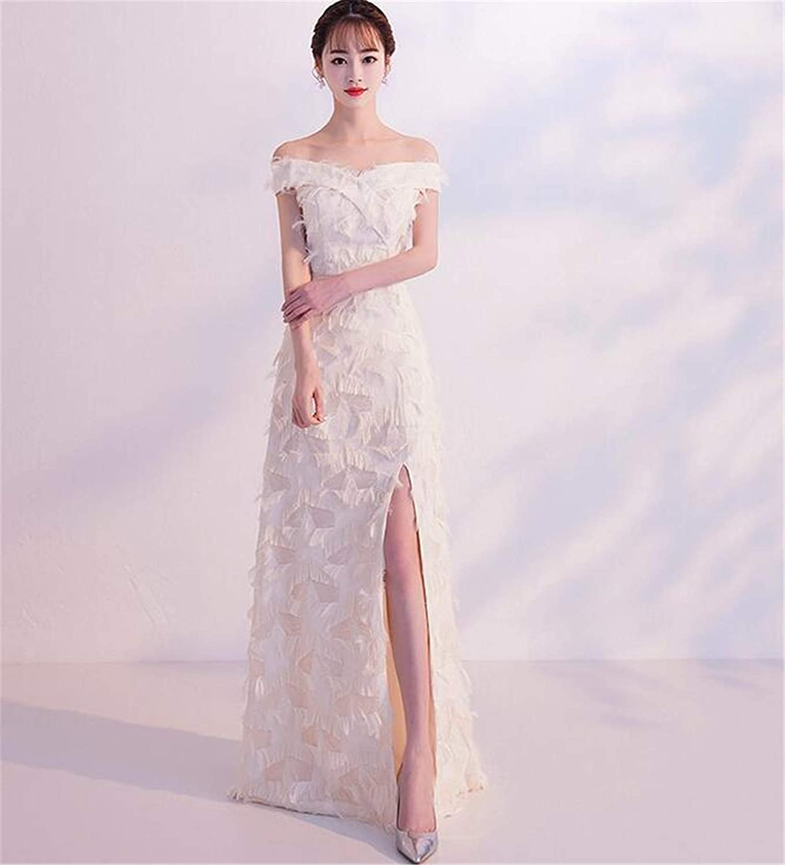 One Word Collar Dress,Tassel Fish Tail Dress Female Bridesmaid High Slit, Evening Party,Cocktail, Dinner, Ball Prom,Summer Beach