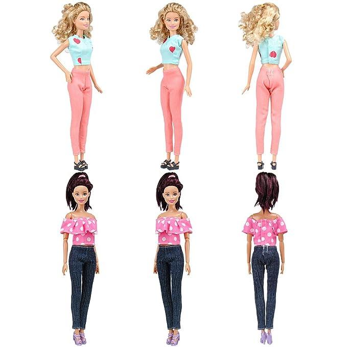 Amazon.es: E-TING 20 artículos=5 ropa 5 pantalones 10 zapatos trajes decorados para la muñeca Barbie estilo al azar: Juguetes y juegos