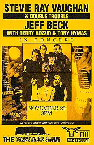 Jazz Concert Poster - Stevie Ray Vaughan - Jeff Beck - 1989 - Austin TX - Concert Poster