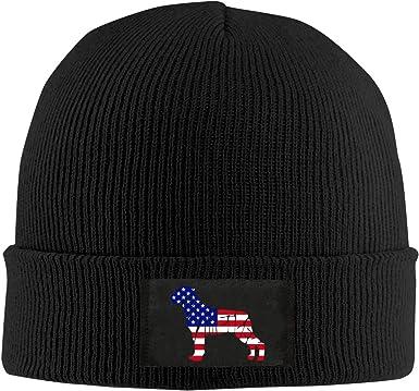 BF5Y3z/&MA Texas Flag Rottweiler Dog Beanie Hat for Men Women,Stretch Knitting Hat Skiing Cap