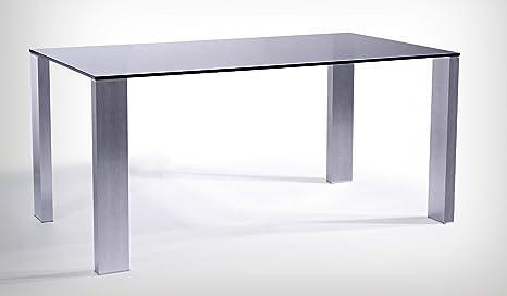 Tavolo pranzo in VETRO NERO misure 160 x 90, gambe in ALLUMINIO ...